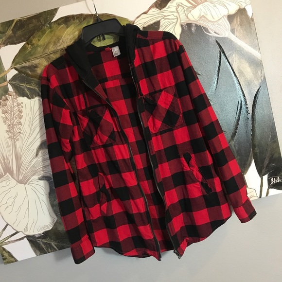 Divided Jackets & Blazers - Checkered Hoodie Jacket